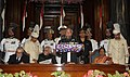 Pranab Mukherjee addressing the 7th meeting of Women Speakers of Parliament on Gender Sensitive Parliaments, at Parliament House, in New Delhi. The Vice President and Chairman, Rajya Sabha, Shri Mohd. Hamid Ansari.jpg