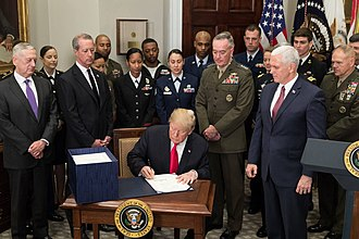 National Defense Authorization Act for Fiscal Year 2018 - President Donald Trump signing the NDAA 2018