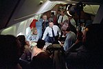 President Ronald Reagan Talking to The Press Aboard Air Force One with Lesley Stahl and James Baker.jpg