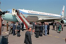 Vnukovo International Airport-History-Reagans land in Moscow 1988
