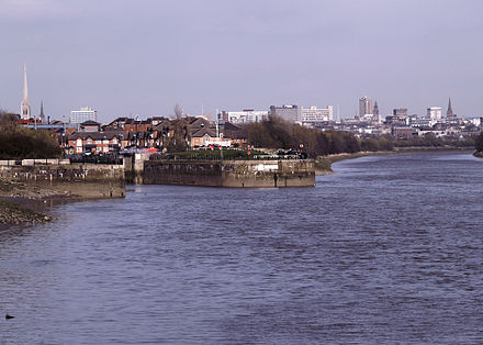 The River Ribble, with the dock entrance to the left Preston Riversway Docks.jpg