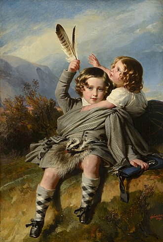Princess Helena of the United Kingdom - Princess Helena (right) with her brother Prince Alfred. Helena was Alfred's favourite sister. Portrait by Franz Xaver Winterhalter.