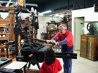 Columbian press - A Columbian press at the International Printing Museum in Carson, CA.