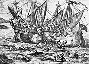Print entitled Horribles cruautes des Huguenot en France 16th century