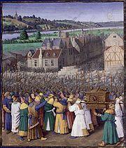La toma de Jericó según un grabado de Jean Fouquet.