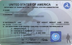 Private pilot licence - A 2006 plastic private pilot certificate from the United States. Earlier issues were printed on card stock and designs varied.
