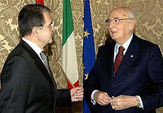 Giorgio Napolitano - Giorgio Napolitano with Prime Minister Romano Prodi, in 2006.