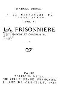 Proust la prisonniere 1923