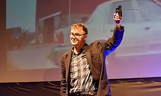 Meirion Jones - Jones lecturing at QED 2016 about the fake bomb detector ADE 651 that he helped expose.