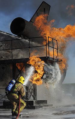 A fire fighting training exercise at Manston
