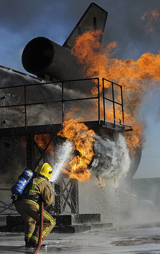 RAF Manston - A fire fighting training exercise at Manston