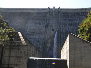 Hydroelectricity in Japan - The Ueno Dam, lower reservoir of the pumped-storage Kannagawa Hydropower Plant