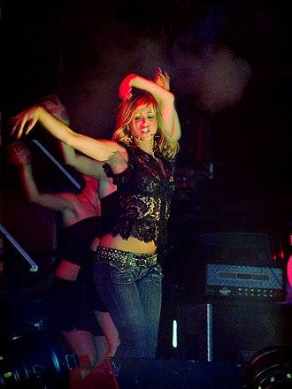 """Rachel Stevens - Stevens performing """"Funky Dory""""."""