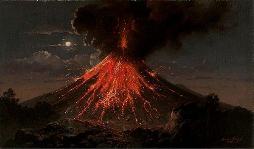 Raden Saleh - Merapi volcano, eruption at night, 1865