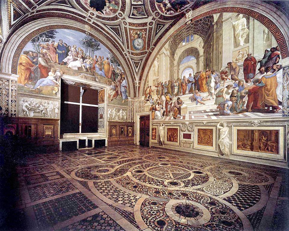 > Chambre de Raphael aux musées du Vatican : Stanza della Segnatura.
