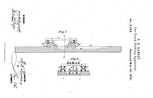 Bogie exchange - A drawing of the ramsey car-transfer apparatus from the patent application