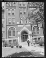 Rear Admiral Joel T. Boone and party enter hospital for inspection. Terre Haute, Indiana, St. Anthony's Hospital. - NARA - 540353.tif