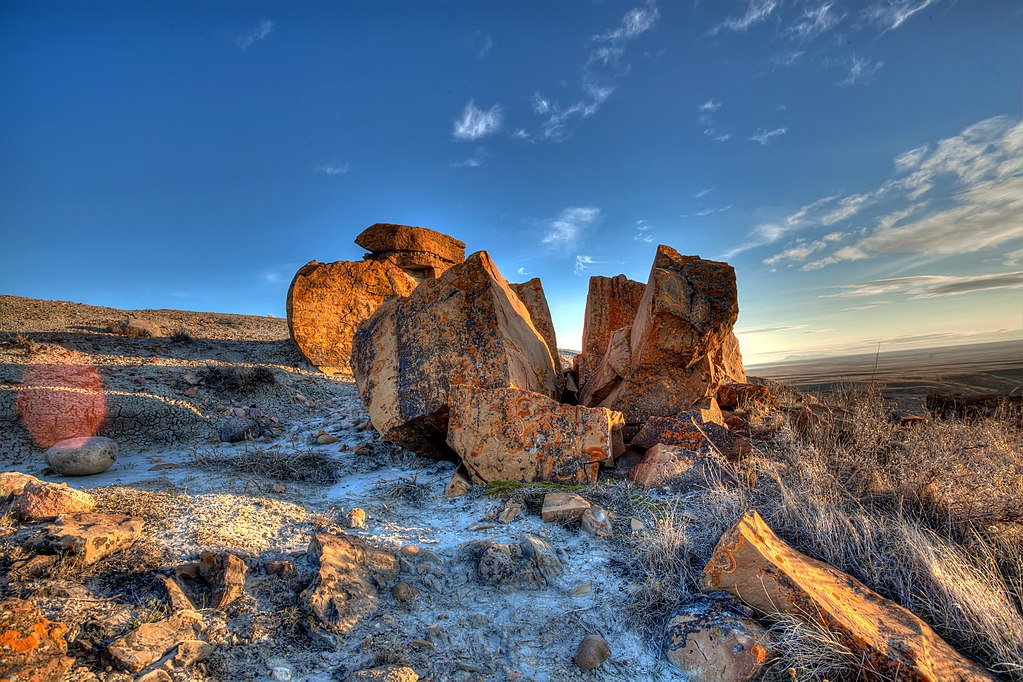 rock formation on a morning in the plains of Alberta