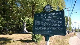 Signer's House and Matthew Thornton Cemetery - Matthew Thornton's grave marker