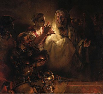Peter's Denial by Rembrandt, 1660. Jesus is sh...