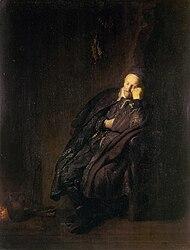 Rembrandt: An old man sleeping ne