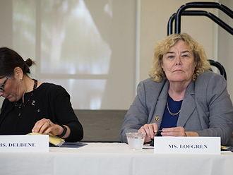 Zoe Lofgren - Lofgren participates in a remote Judiciary Committee roundtable in Santa Clara, California in 2015.