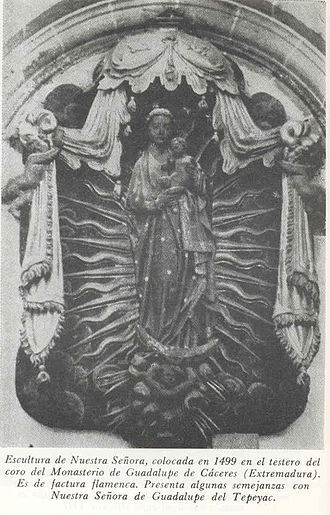 Our Lady of Guadalupe - A relief of the Madonna and Child installed in the year 1499 within the chapel of the choir in the Monastery of Guadalupe, in Caceres, Extramadura, Spain.
