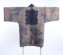 Reversible Fireman's Coat (hikeshibanten) with Interlocking Circles, Chinese Characters (kanji) and Ginkgo Leaves LACMA M.2000.78 (1 of 2).jpg