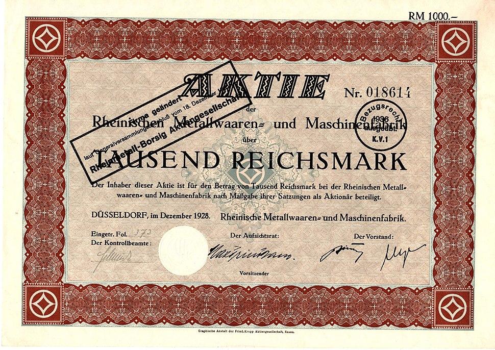Rheinische Metallwaaren- und Maschinenfabrik 1928