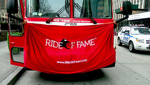 Ride of Fame - Ride of Fame curtain covering the Tracey Bregman double-decker bus prior to its unveiling on April 7, 2014