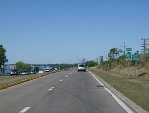 Seaway Trail - Following the Niagara River on the Robert Moses Parkway, with Niagara Falls in the background