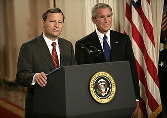George W. Bush Supreme Court candidates - John Roberts, now Chief Justice, is pictured here with President Bush at the announcement of his first nomination on July 19, 2005.