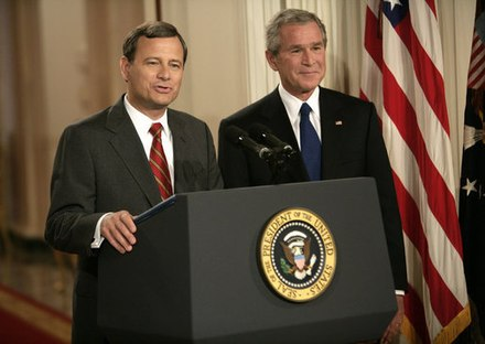 Supreme Court Justice nominee John Roberts and President Bush, July 19, 2005 Roberts, Bush SCOTUS announcement.jpg