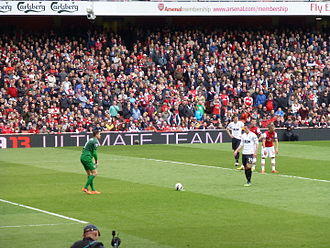Arsenal F.C.–Manchester United F.C. rivalry - Robin van Persie about to take a penalty against his former side, April 2013