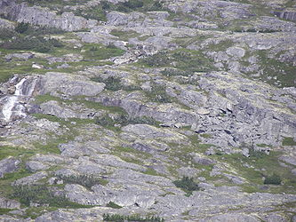 Rocky landscape from Klondike Highway near Alaska British Columbia border.jpg