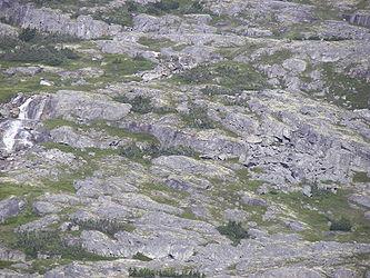 Rocky landscape from Klondike Highway near Alaska British Columbia border.jpg