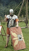 A re-enactor, showing a Roman miles, (2nd century).