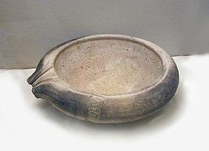 Mortarium - Mortarium, with simple pouring spout. Made in Britain, 1st century AD.
