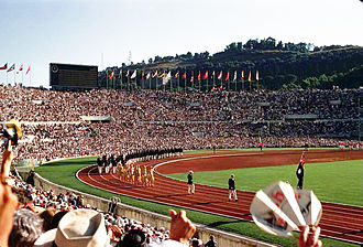 Opening Ceremony in 1960 Summer Olympics in Stadio Olimpico in Rome, Italy Rome Olympics 1960 - Opening Day.jpg