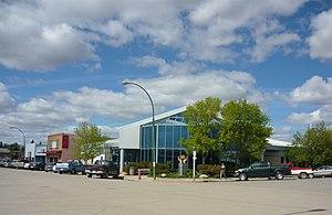 English: Business district of Rosetown, Saskat...