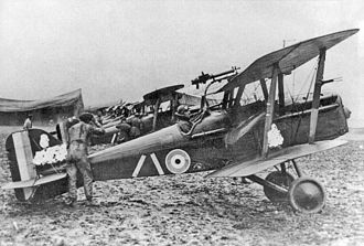 Royal Aircraft Factory S.E.5 - S.E.5a aircraft of No. 32 Squadron RAF. The wartime censor scratched out the serial numbers but left the squadron markings.