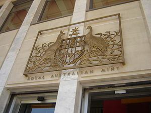 Royal Australian Mint - The coat of arms of Australia is featured above the entrance to the Royal Australian Mint.