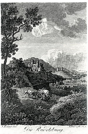 Rudelsburg - A well-known depiction with remains of the outer keep (before 1770)
