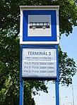 Ruzyně, K letišti, zastávka Terminál 3, ČSAD směr centrum, označení.jpg