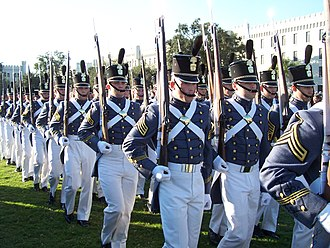 Drill team - The Citadel, The Military College of South Carolina's elite senior drill platoon, The Summerall Guards, performing their signature combination of Prussian high-step and German close-order drill