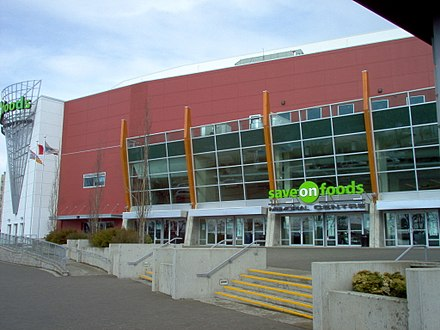 Save-On-Foods Memorial Centre is an indoor ice hockey arena in Victoria. It is the home arena for the WHL's Victoria Royals. SOFMCFront.jpg