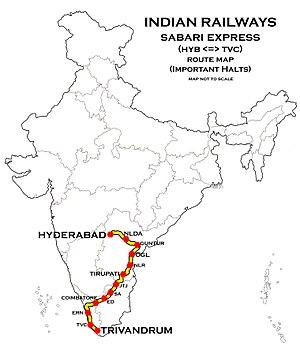 hydera to sabarimala road map Sabari Express Wikipedia hydera to sabarimala road map