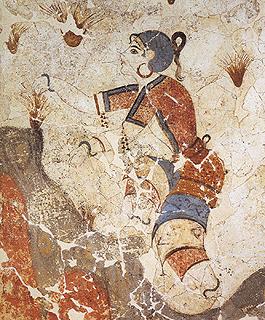 Saffron gatherers detail Thera Santorini