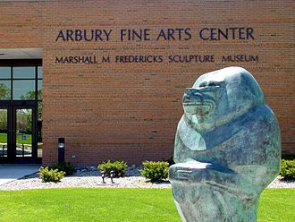 Saginaw Valley State University - Marshall Fredericks Sculpture Museum in front of the Arbury Fine Arts Center