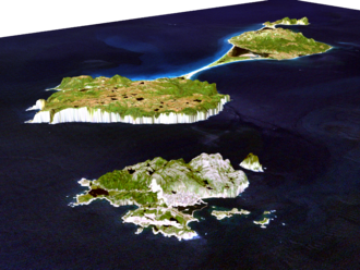 Geography of Saint Pierre and Miquelon - Simulated view of the islands by NASA